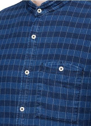 Detail View - Click To Enlarge - Denham - 'Riz' check contrast stitch cotton shirt