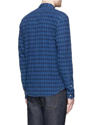 Back View - Click To Enlarge - Denham - 'Riz' check contrast stitch cotton shirt