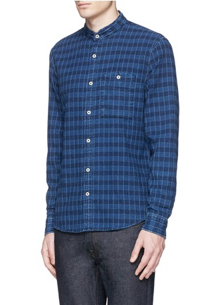 Front View - Click To Enlarge - Denham - 'Riz' check contrast stitch cotton shirt
