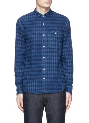 Main View - Click To Enlarge - Denham - 'Riz' check contrast stitch cotton shirt