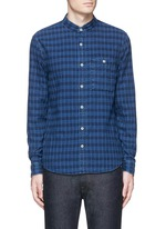 'Riz' check contrast stitch cotton shirt