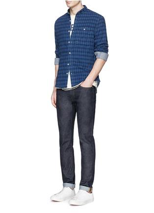 Figure View - Click To Enlarge - Denham - 'Riz' check contrast stitch cotton shirt