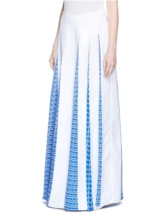 Front View - Click To Enlarge - KENZO - 'Houndstooth Strip' asymmetric pleat godet skirt