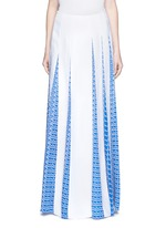 'Houndstooth Strip' asymmetric pleat godet skirt