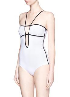 ARAKS'Harlow' keyhole back grid plunge swimsuit