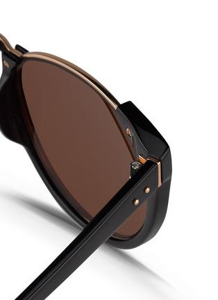 Detail View - Click To Enlarge - Linda Farrow - 'Upside Down Browline' titanium rim acetate mirror sunglasses