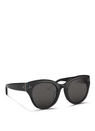 Figure View - Click To Enlarge - Linda Farrow - Oversize round cat eye acetate sunglasses