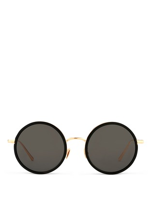 Main View - Click To Enlarge - Linda Farrow - Aluminium rim round titanium sunglasses