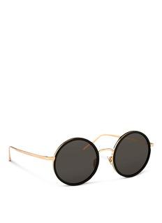 LINDA FARROWAluminium rim round titanium sunglasses