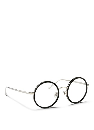 Figure View - Click To Enlarge - Linda Farrow - Aluminium rim titanium round optical glasses