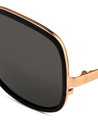 Detail View - Click To Enlarge - Linda Farrow - Aluminium rim oversize titanium sunglasses
