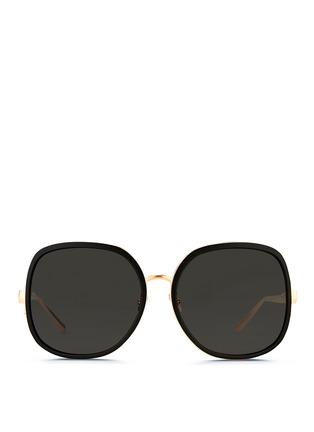 Main View - Click To Enlarge - Linda Farrow - Aluminium rim oversize titanium sunglasses