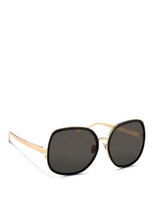 Figure View - Click To Enlarge - Linda Farrow - Aluminium rim oversize titanium sunglasses