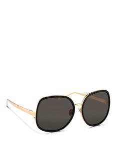 LINDA FARROWAluminium rim oversize titanium sunglasses