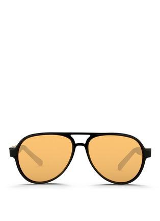 Main View - Click To Enlarge - Linda Farrow - Cutout temple acetate aviator mirror sunglasses