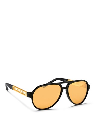 Figure View - Click To Enlarge - Linda Farrow - Cutout temple acetate aviator mirror sunglasses