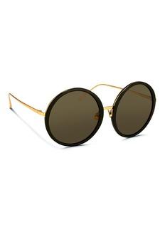 LINDA FARROWAcetate front oversize round titanium sunglasses