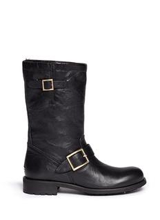 Jimmy Choo'Biker' rabbit fur leather boots