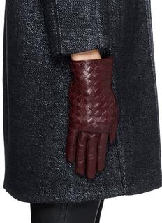 MAISON FABRE'Tresse' basketweave lamb leather gloves