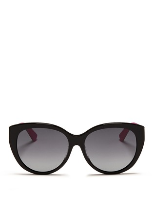 Dior - 'Lady 1R' rubber and leather temple cat eye sunglasses