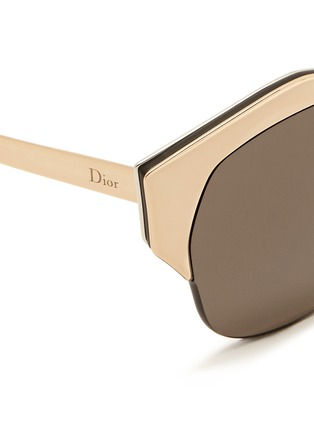 Detail View - Click To Enlarge - Dior - 'Mirrored' contrast metal angled cat eye sunglasses