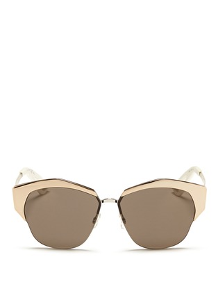 Main View - Click To Enlarge - Dior - 'Mirrored' contrast metal angled cat eye sunglasses