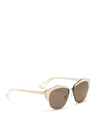 Figure View - Click To Enlarge - Dior - 'Mirrored' contrast metal angled cat eye sunglasses