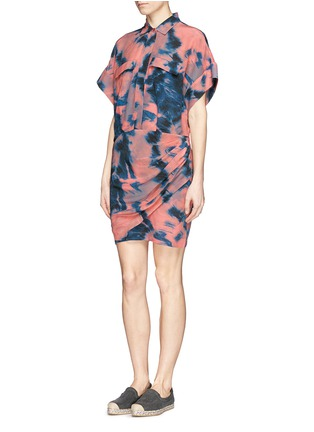 Figure View - Click To Enlarge - IRO - Tie dye side ruche shirt dress