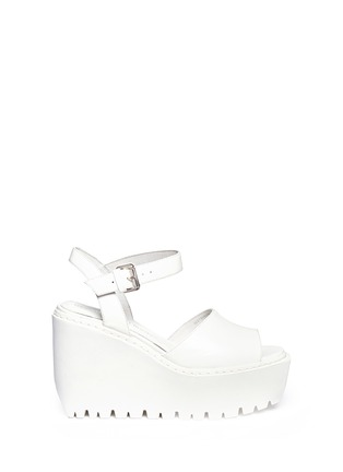 Main View - Click To Enlarge - Opening Ceremony - 'Grunge' gloss leather platform wedge sandals
