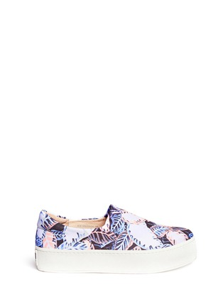 Main View - Click To Enlarge - Opening Ceremony - Tropical leaf print flatform slip-ons