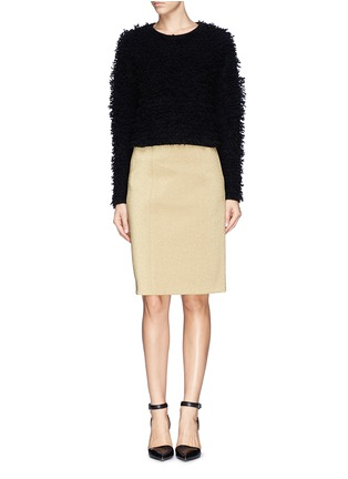 Figure View - Click To Enlarge - Helmut Lang - Chunky bouclé knit cropped pullover