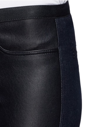 Detail View - Click To Enlarge - Helmut Lang - Leather denim combo leggings