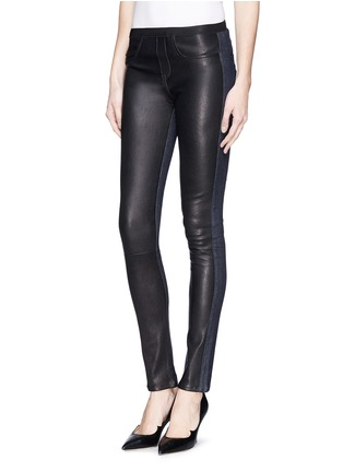 Front View - Click To Enlarge - Helmut Lang - Leather denim combo leggings