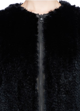 Detail View - Click To Enlarge - alice + olivia - 'Duncan' leather placket fur jacket