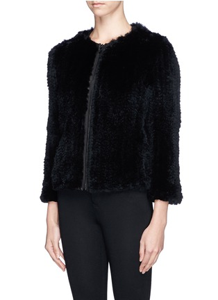 Front View - Click To Enlarge - alice + olivia - 'Duncan' leather placket fur jacket