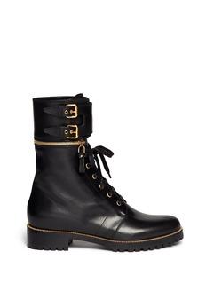 SERGIO ROSSIDetachable cuff leather combat boots