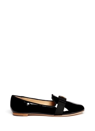 Main View - Click To Enlarge - Tory Burch - 'Trudy' logo bow patent leather ballerina flats