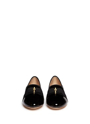 Figure View - Click To Enlarge - Tory Burch - 'Trudy' logo bow patent leather ballerina flats