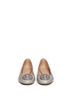 TORY BURCH'Reva' crocodile print ballerina flats