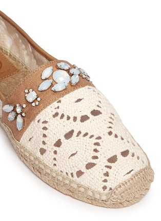 Detail View - Click To Enlarge - Tory Burch - 'Ginerva' jewelled crochet espadrilles