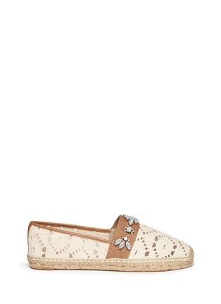 Main View - Click To Enlarge - Tory Burch - 'Ginerva' jewelled crochet espadrilles