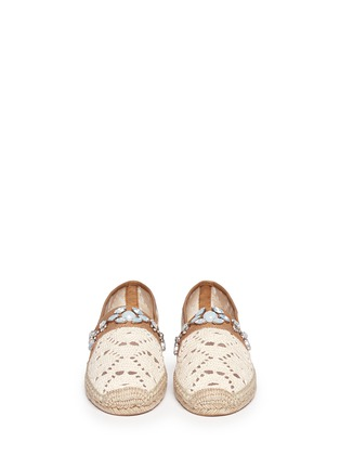 Figure View - Click To Enlarge - Tory Burch - 'Ginerva' jewelled crochet espadrilles