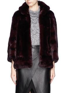 YVES SALOMONStand collar rabbit fur coat