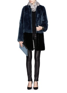 YVES SALOMONColourblock rabbit fur coat