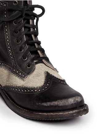 Detail View - Click To Enlarge - FREEBIRD - 'Canyon' cow hair leather brogue combat boots