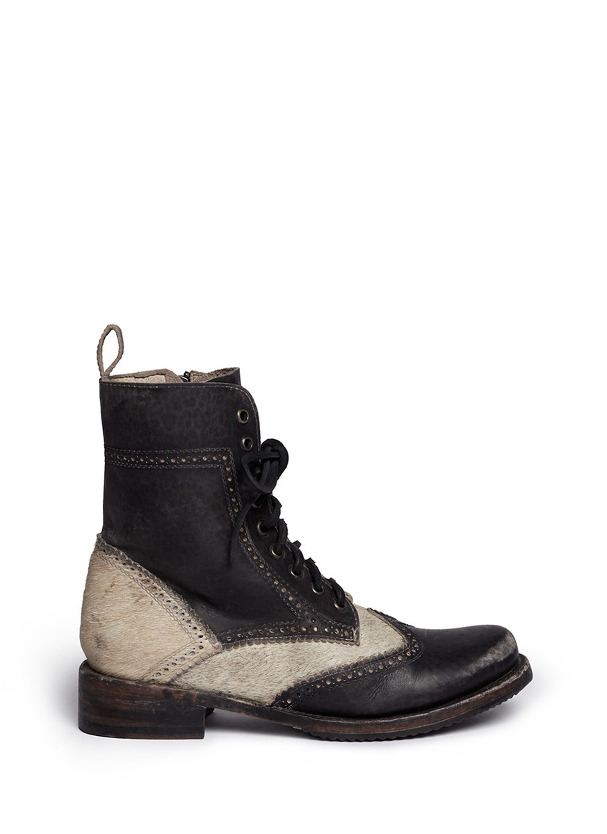 Cowhide Barstools Vintage Black White Hairhide Leather Bar: 'Canyon' Cow Hair Leather Brogue Combat Boots