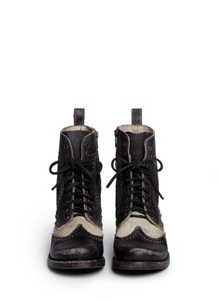 Figure View - Click To Enlarge - FREEBIRD - 'Canyon' cow hair leather brogue combat boots