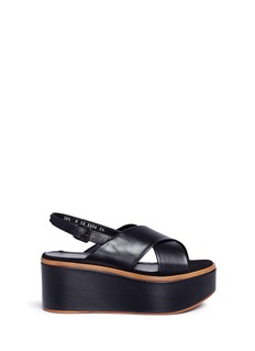 Robert Clergerie 'Flixm' cross vamp leather platform slingback sandals