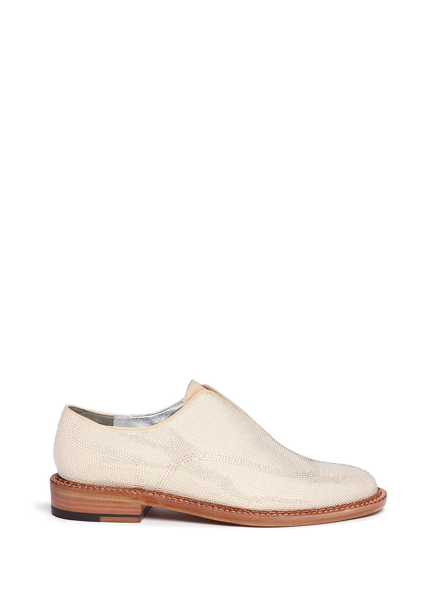 Jine micro stud laceless suede Oxfords by Robert Clergerie