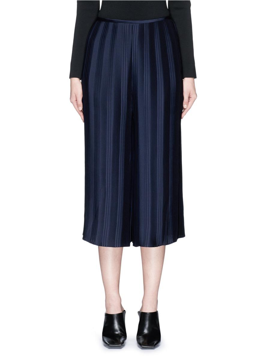 Stripe plissé pleated satin culottes by Dion Lee